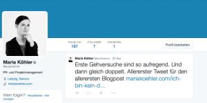 Erster Tweet als @koehlerine, 21.05.2015, 21:16 Uhr