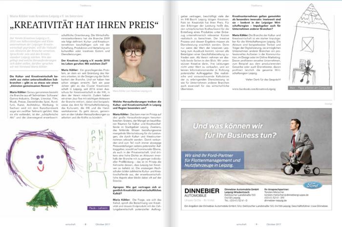 Kreativität hat ihren Preis / Kreatives Leipzig e.V. Vorstandsmitglied Maria Köhler im Interview für die Industrie- und Handelskammer zu Leipzig